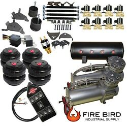 D Chevy S10 Air Kit Pewter 2500 Bags 1/2npt Valves Black 7 Switch 5 Gal