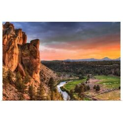 Sunset At Smith Rock State Park In Poster Art Print, Oregon Home Decor
