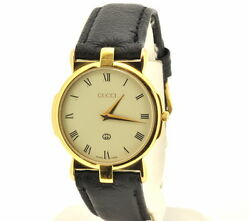 Men#x27;s GUCCI Gold Filled Leather Band Watch T080 620 $355.50
