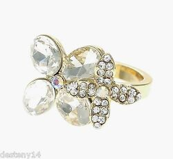Katy Perry Gold Crystal Double Flower Ring Prism Collection Size 7 NWT