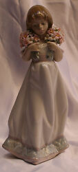 Magnificent Brand New Lladro Porcelain Hand Painted Girl With Flowers