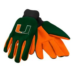 Ncaa Miami Hurricanes Colored Palm Utility Gloves Green W/ Orange Palm By Foco