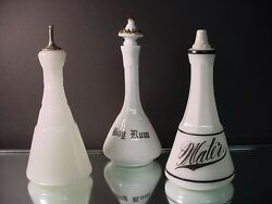 3 Victorian Barber Bottles - 2 Clamsbroth Plain And Water And Milk Glass Bay Rum