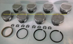 Speed Pro/trw Chevy 454 Forged -8cc Dish Coated Skirt Pistons File Fit Rings +60