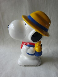 Snoopy scout money coin bank ceramic HUGE