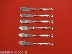 Romance Of The Sea By Wallace Sterling Silver Trout Knife Set 6pc Custom 7 1/2
