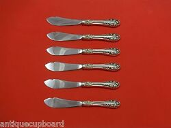 Rose By Wallace Sterling Silver Trout Knife Set 6pc. Custom Made 7 1/2