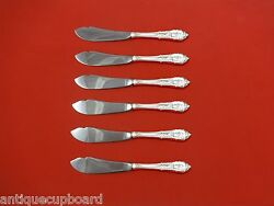 Rose Point By Wallace Sterling Silver Trout Knife Set 6pc. Custom Made 7 1/2