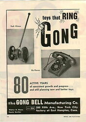 1946 Paper Ad 2 Pg Toy Gong Bell Toys Pla Phone Telephone Push Chimes Pull