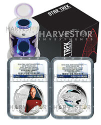 2015 Certified Silver Star Trek Two Coin Set - Ngc Pf70 First Releases - Picard