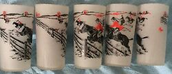 Fox Hunt Hunting Set 5 Frosted High Ball Glasses