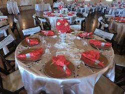 All Inclusive Wedding Decorations- Red, Gold, Ivory, Some Canary Highlights