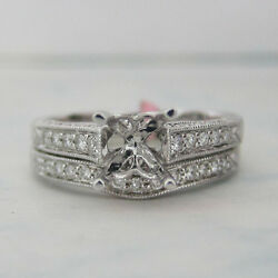 Round Diamond Antique Look Bridal Set With Curved Wedding Band 18k White Gold
