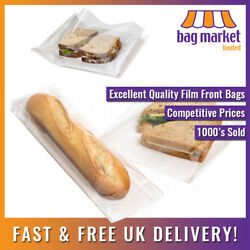 Film Front White Paper Bags | Cellophane/window/sandwich/food/card/cake/sweets