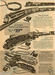 1964 Paper Ad 3 Pg Allstate Toy Electric Train Sets Union Pacific Locomotive