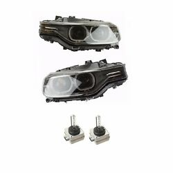 For BMW F30 Set of Left & Right Headlight Assy Bi-Xenon Adaptive w Bulbs OEM