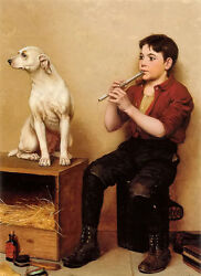 Oil painting John George Brown - Music Hath No Charms Boy Playing Flute And Dog