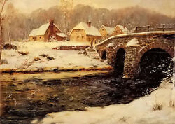Oil Painting Frits Thaulow - A Stone Bridge Over A Stream In Winter Farmer House