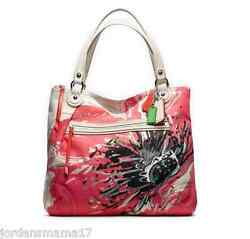 Nwt Coach Poppy Placed Glam Tote Coral Khaki 19029 Green 298 Msrp W Dust Bag