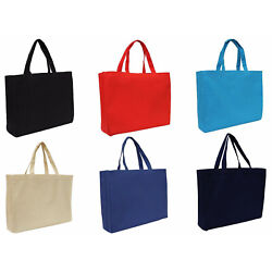 Large Cotton Canvas Tote Bags 2 Sizes Reusable Heavy Wt Fabric Threadart $5.59