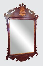 Colonial Williamsburg Chippendale Antique Style Mirror In Burled Walnut