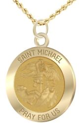 1.0in Solid 14k Yellow Gold St Saint Michael Pendant Charm Necklace