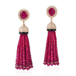 18K Gold Diamond Ruby Onyx Tassel Earrings Indian Ethnic Women Fashion Jewelry