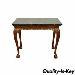 Vintage Carved Mahogany Chippendale Sty Ball And Claw Marble Top Console Table B