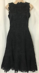 Valentino Dress Black Floral Embroirded Full Shirt Size 2 Nwt5980