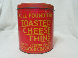 Toasted Cheese Thins Tin Can  Educator Cracker Vintage Kitchen Food Tin Can