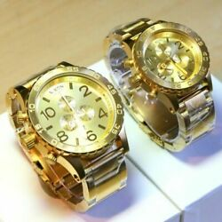 Nixon 51-30 And 42-20 Chrono Gold Watch Set A083502 And A037502 Fedex 2 Day Ship