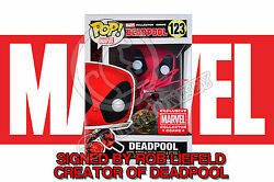 Marvel Collectors Corps Deadpool 123 Funko Pop Figure - Signed By Rob Liefeld