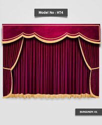 Saaria Ht-4 Velvet Home Decorative Bright Curtains Gold Fringe Drape 13and039w X 8and039h