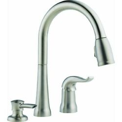 Delta Single Handle Pull-down Kitchen Faucet With Soap Or Lotino 16970-sssd-dst