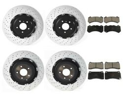 Brembo Front+Rear Rotors w TRW Front+Rear Pads for Nissan GT-R 11-16