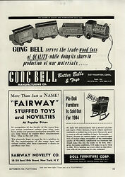 1944 Paper Ad Gong Bell Toy Train Pull Toys Pla Doll House Furniture Sold Out