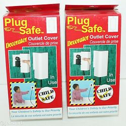 2 Lot Pack Plug Safe Decorator Wires Or Wall Plug Outlet Covers Baby Child 124