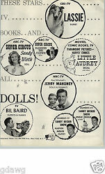 1956 Paper Ad 2 Pg Juro Toy Co Lassie Puppet Jerry Mahoney Paul Winchell Audrey