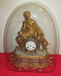 Highly Gold Gilt French Antique Clock Depicting Maiden With Whippet - Glass Dome