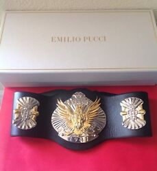 Emilio Pucci 1350 Blk. Leather Silver/gold Eagle Runway Belt Sold Out Nwtag Ltd