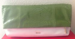 EMILIO PUCCI WOMANS $1695 GREEN PYTHON  WHITE SUEDE CLUTCH BAG NWTAG ITALY