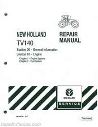 Ford New Holland Tv140 Bidirectional 4wd Diesel Tractor Service Manual Js-n...