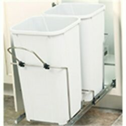 Kv Pull Out Double Bin 35qt 14-3/8in Wide, Partno Sbm15-2-35wh