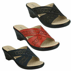 Ladies Eaze Open Round Toe Cross Over Strap Slip On Wedge Mules Sandals F3104