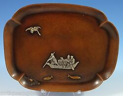 Mixed Metals By Gorham Sterling Silver Tray W/fisherman Applied Bird Fish 1104