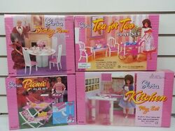 Gloria Doll House Furniture/4 Set Of Dining, Tea For Two, Picnic And Kitchen