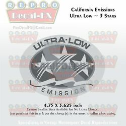 California Emissions Decals Ultra Low 3 Stars Outboard Evinrude Johnson Honda