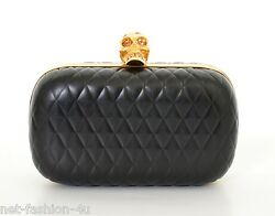 ALEXANDER McQUEEN QUILTED BLACK LEATHER SKULL BOX CLUTCH BAG BNWT