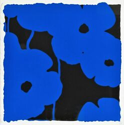 Donald Sultan And039blue Poppiesand039 Signed Limited Edition Silkscreen Print W/ Flocking