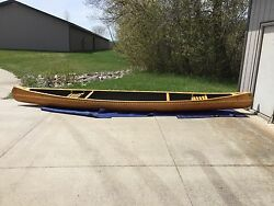 New Hand Made 20and039 Wooden Canoe